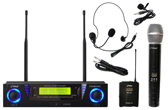 Pyle - PDWM3500 , DJ Equipment , Wireless Microphones , Professional UHF Dual Channel Wireless Microphone System with Adjustable Frequency 1 Hand Held Microphone & 1 Headset/Lavalier Mic's
