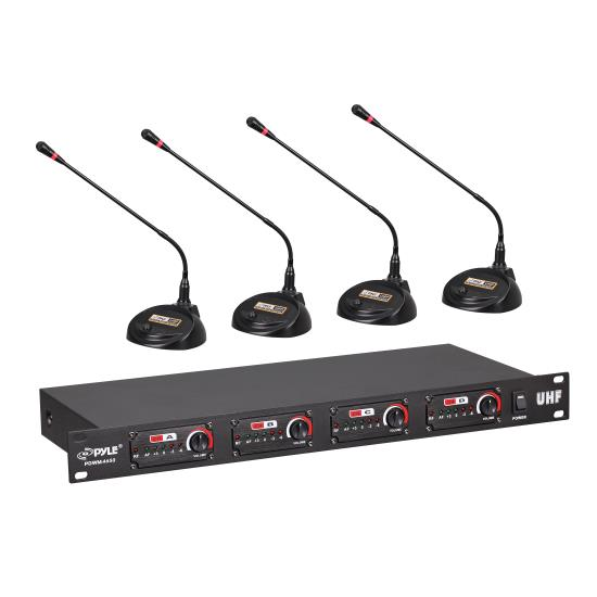 Pyle - UPDWM4650 , Musical Instruments , Microphone Systems , Sound and Recording , Microphone Systems , 4-Channel Desktop Conference UHF Wireless Microphone System, Rack Mount