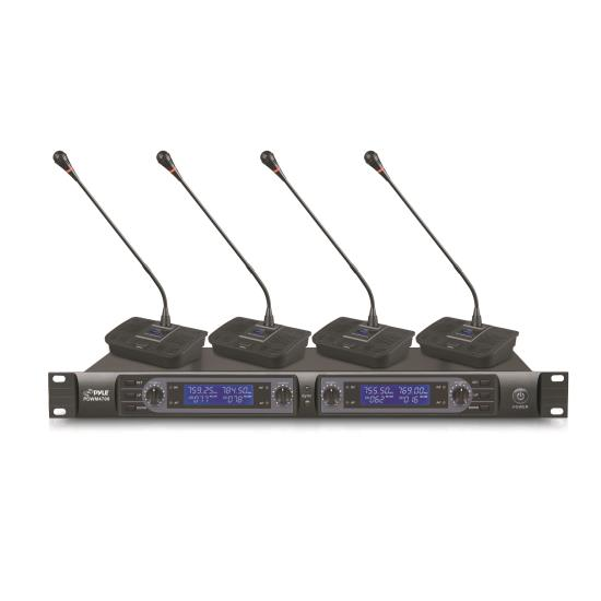 Pyle - PDWM4700 , Musical Instruments , Microphone Systems , Sound and Recording , Microphone Systems , Professional Rack Mount 4 Channel Desktop UHF Selectable Frequency Wireless  Microphone System