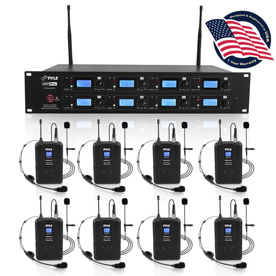 Pyle - PDWM8275 , Musical Instruments , Microphone Systems , Sound and Recording , Microphone Systems , 8-Channel UHF Wireless Microphone & Receiver System, (8) Belt-Packs, (8) Headsets, (8) Lavaliers