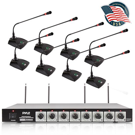 Pyle - pdwm8300 , Sound and Recording , Microphone Systems , 8-Ch. Conference Wireless Microphone System - VHF Desktop Office Conference Mic System with (8) Tabletop Goosenecks Mics