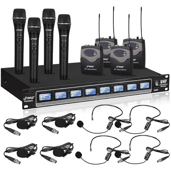 Pyle - PDWM8350 , Musical Instruments , Microphone Systems , Sound and Recording , Microphone Systems , 8-Ch. Wireless Microphone System, UHF Microphone Receiver Kit with (4) Handheld Mics & (4) Beltpack/Headset Mics, Rack Mount