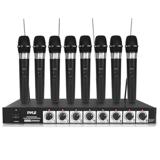 Pyle - PDWM8400 , Musical Instruments , Microphone Systems , Sound and Recording , Microphone Systems , 8 Mic Professional Handheld VHF Wireless Microphone System