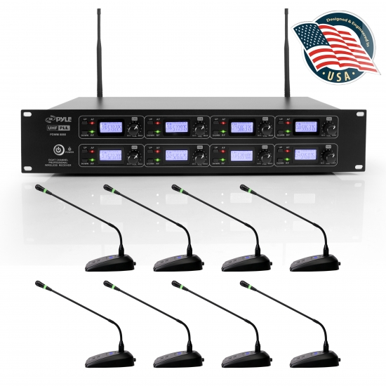 Pyle - PDWM8880 , Musical Instruments , Microphone Systems , Sound and Recording , Microphone Systems , 8-Ch. Conference Microphone System - UHF Desktop / Table Meeting Wireless Microphones & Receiver with (8) Gooseneck Mics, Rack Mountable