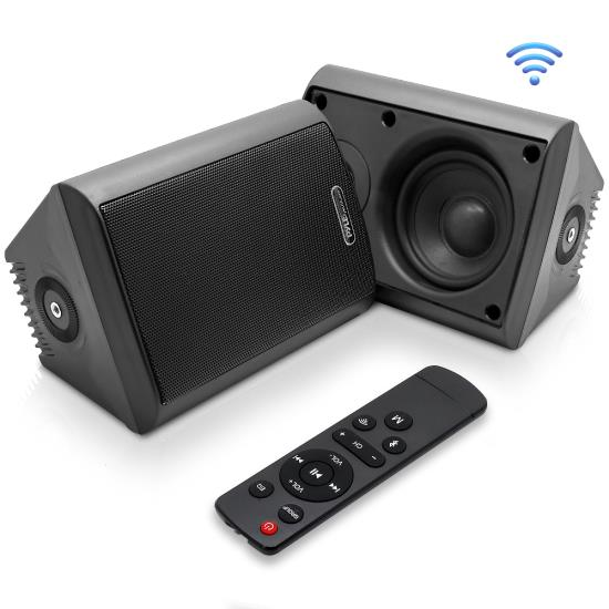 Pyle - UPDWR46IFBBK , Sound and Recording , Home Speakers , Indoor/Outdoor Wall Mount Speakers - Waterproof Rated Speaker System with Built-in Bluetooth, WiFi Music Streaming (4.0'' -inch, 200 Watt)
