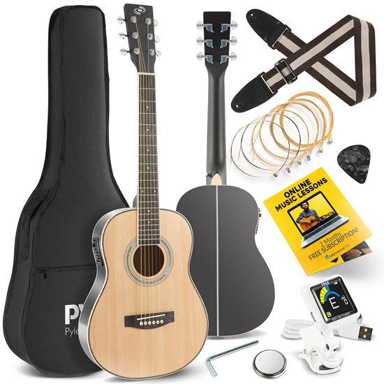 """Pyle - PEAG91 , Musical Instruments , 30"""" Inch 6-String Electric Acoustic Guitar - Guitar with Digital Tuner & Accessory Kit (Nature color, matt finish)"""