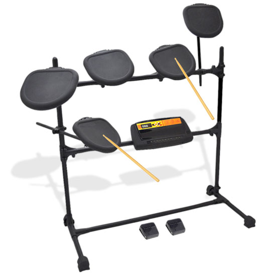 Pyle - PED03 , Musical Instruments , Drum Kits , Electronic Drum Set with Natural Response Drums - Includes 5 Drum Pads and Fully Adjustable Drum Rack