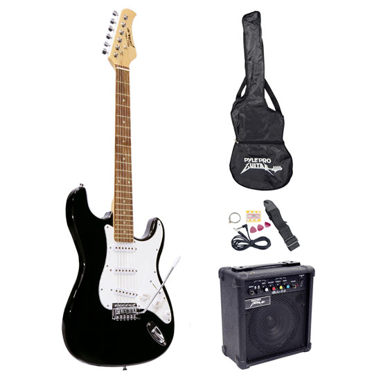 Pyle - PEGKT15B , Musical Instruments , Guitars , Beginners Electric Guitar Kit, Includes Amplifier & Accessories (Black)