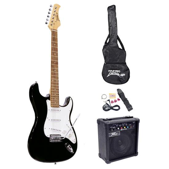beginners electric guitar kit includes amplifier accessories black guitars musical. Black Bedroom Furniture Sets. Home Design Ideas