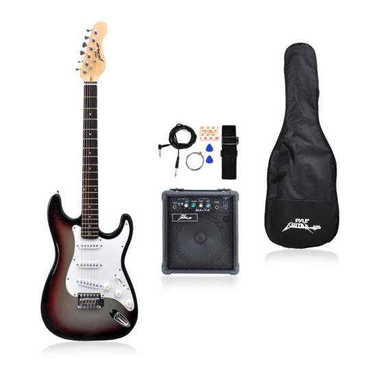 Pyle - PEGKT15GS , Musical Instruments , Guitars , Beginners Electric Guitar Kit, Includes Amplifier & Accessories (Grey)