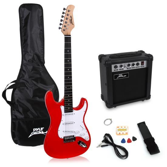 Pyle - PEGKT15R , Musical Instruments , Guitars , Beginners Electric Guitar Kit, Includes Amplifier & Accessories (Red)