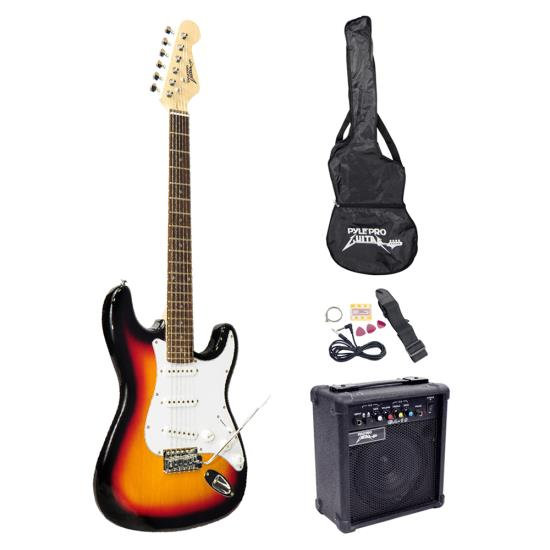Pyle - PEGKT15SB , Musical Instruments , Guitars , Beginners Electric Guitar Kit, Includes Amplifier & Accessories (Sunburst)