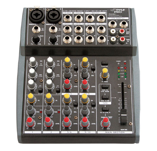 Pyle - PEXM801 , Sound and Recording , Mixers - DJ Controllers , 10 Channel Balanced Studio Grade IMP Audio Mixer with Pre-Amp