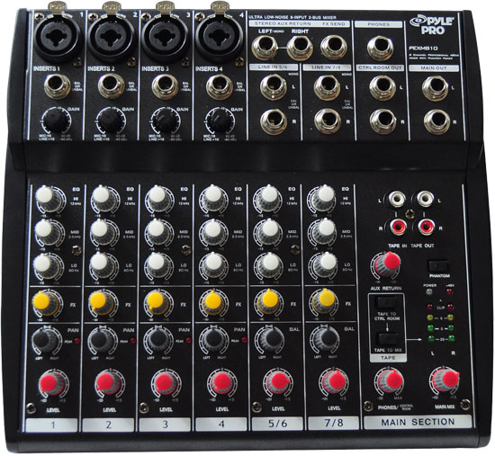 Pyle - PEXM810 , Sound and Recording , Mixers - DJ Controllers , 8 Channel Professional Audio Mixer with Phantom Power