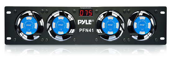 "Pyle - PFN41 , Home and Office , Cooling Fans , Sound and Recording , Cooling Fans , 19"" Rack Mount Cooling Fan System with LCD Temperature Display"