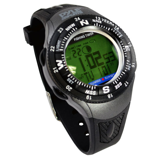 Pyle - PFSH1 , Sports & Outdoors , Temperature & Level Meters , Digital Fishing Watch With Moon Phases, Tides, Sunrise, Calendar
