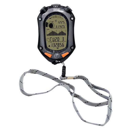 Pyle - PFSH2 , Sports & Outdoors , Temperature & Level Meters , Handheld Digital Fishing/Hunting Watch With Tide, Altimeter, Barometer, Thermometer, Hygrometer