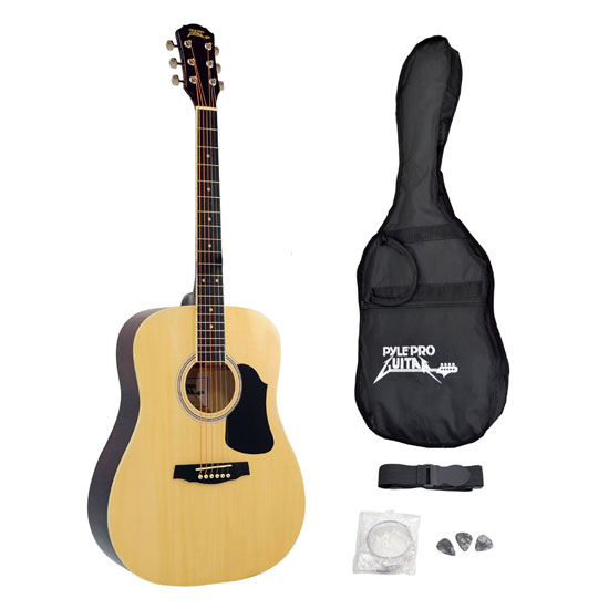 Pyle - PGA20 , Musical Instruments , Guitars , Professional Full Size Acoustic Guitar Package w/ Accessories
