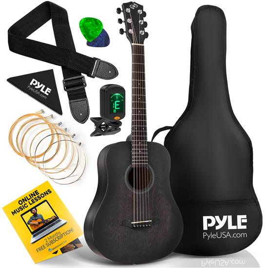 Pyle - PGA820BK , Musical Instruments , 34'' Beginners 6-String Acoustic Guitar - 1/2 Junior Size Guitar with Accessory Kit (Black)