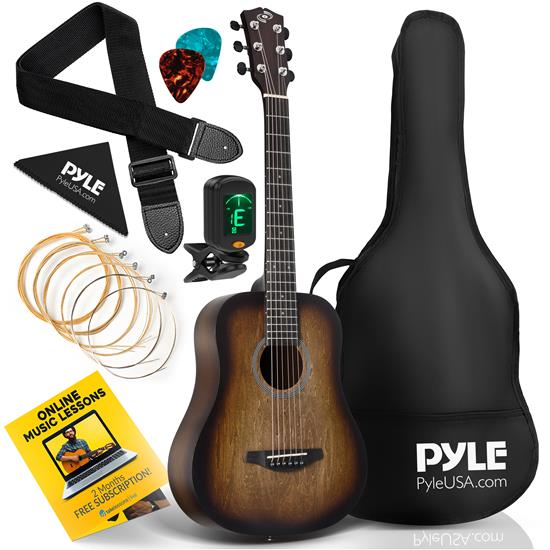 Pyle - PGA820BR , Musical Instruments , 34'' Beginners 6-String Acoustic Guitar - 1/2 Junior Size Guitar with Accessory Kit (Brown)