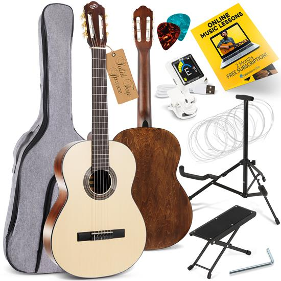 Pyle - PGACLS100 , Musical Instruments , 39'' Inch 6-String Classical Guitar - Guitar with Digital Tuner & Accessory Kit (Nature color, matt finish)