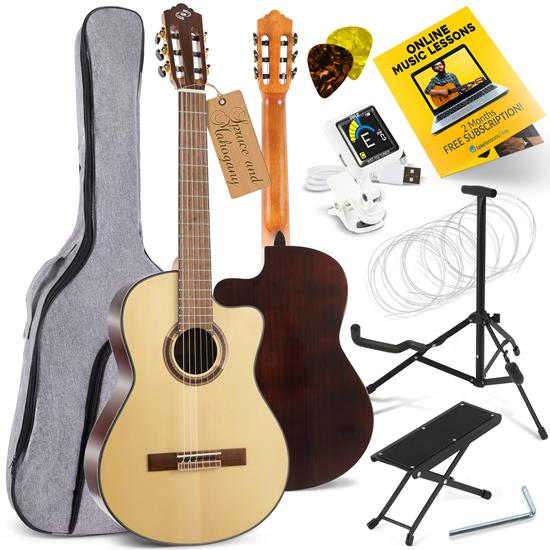 Pyle - PGACLS150 , Musical Instruments , 39'' Inch 6-String Classical Guitar - Guitar with Digital Tuner & Accessory Kit (Nature color, glossy finish)