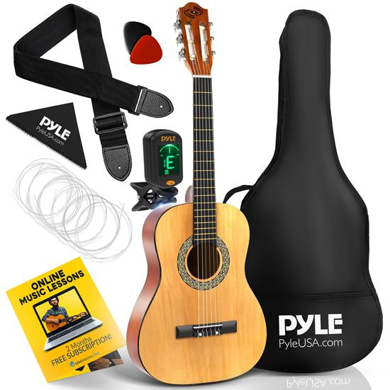 Pyle - PGACLS40 , Musical Instruments , 34'' -Inch 6-String Classical Guitar - Guitar with Digital Tuner & Accessory Kit, (nature color)