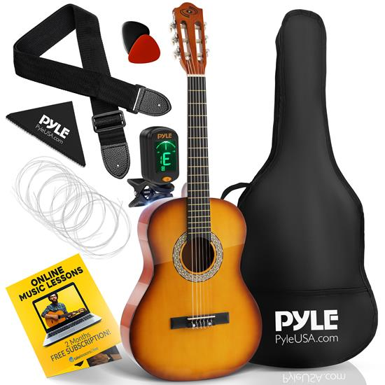 Pyle - PGACLS82CBS , Musical Instruments , 36'' -Inch 6-String Classic Guitar - 3/4 Size Scale Guitar with Digital Tuner & Accessory Kit, (Cherry Burst)