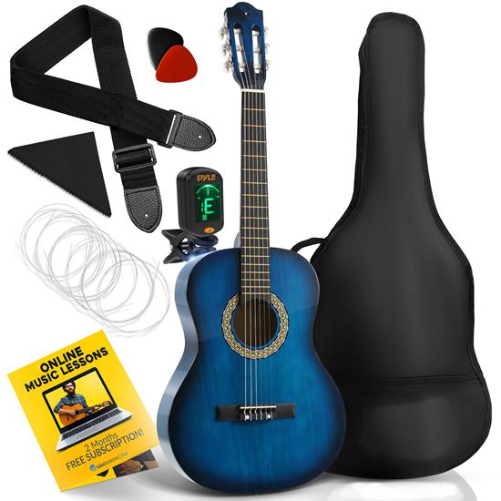 Pyle - PGACLS82LBR , Musical Instruments , 36'' -Inch 6-String Classic Guitar - 3/4 Size Scale Guitar with Digital Tuner & Accessory Kit, (Moonlight Blue)