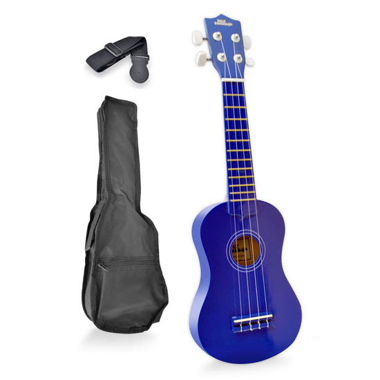Pyle - PGAKT10BL , Musical Instruments , Guitars , Soprano Ukulele Mini Guitar Starter Package All Ages - Blue