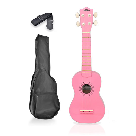 Pyle - PGAKT10PK , Musical Instruments , Guitars , Soprano Ukulele Mini Guitar Starter Package All Ages - Pink