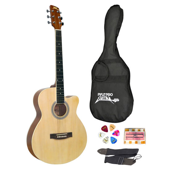 Pyle - PGAKT39 , Musical Instruments , Guitars , 39'' Inch Beginner Jammer, Acoustic Guitar w/ Carrying Case & Accessories