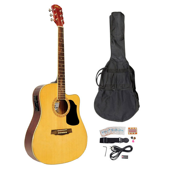 Pyle - PGAKT40N , Musical Instruments , Guitars , 41'' Acoustic-Electric Guitar Package With Gig Bag, Strap, Picks, Tuner, and Strings (Natural Color)