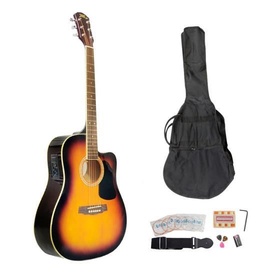 Pyle - PGAKT40SB , Musical Instruments , Guitars , 41'' Acoustic-Electric Guitar Package With Gig Bag, Strap, Picks, Tuner, and Strings (Sunburst Color)