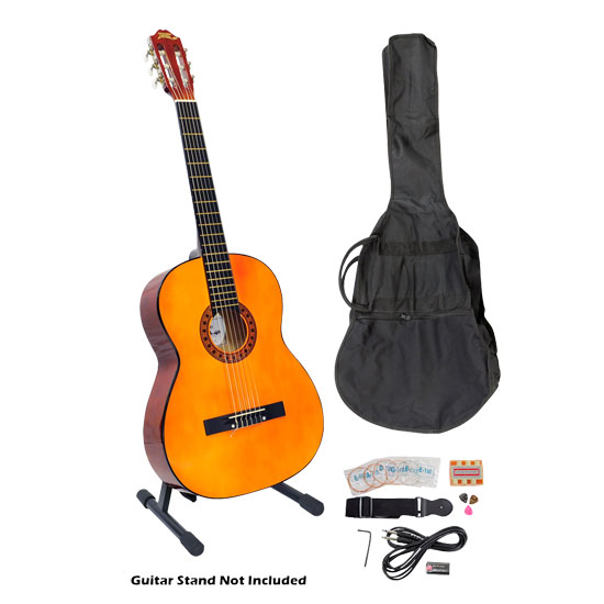 Pyle - PGCKT40 , Musical Instruments , Guitars , 39'' Classical Guitar Starter Package With Gig Bag, Strap, Picks, Tuner, and Strings