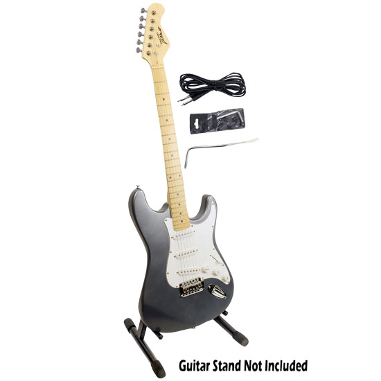 Pyle - PGE25 , Sound and Recording , Instruments , Professional Full Size 6 String Electric Guitar w/ Satin Slate Metallic Finish