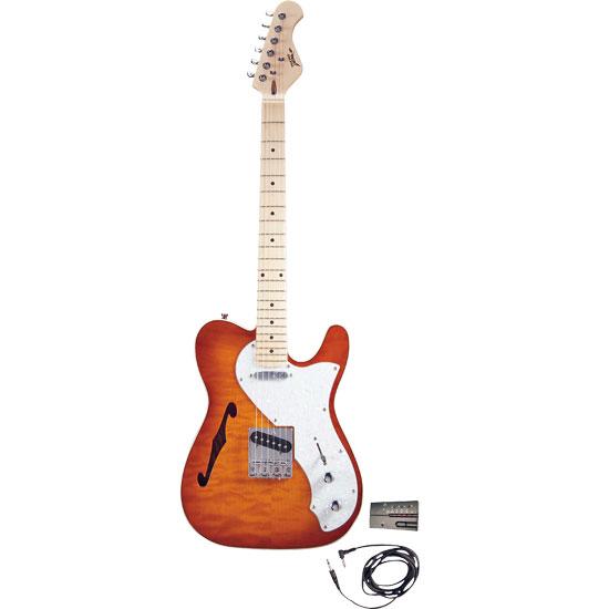 Pyle - PGE75 , Musical Instruments , Guitars , Professional 42'' Semi Hollow Deluxe Sunburst Mahogany Electric Guitar