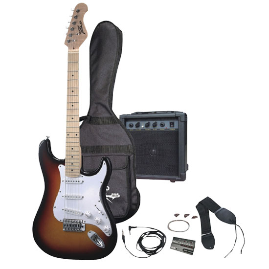 Pyle - PGEKT30 , Musical Instruments , Guitars , Professional Full Size Electric 6 String Guitar Package w/ Amplifier
