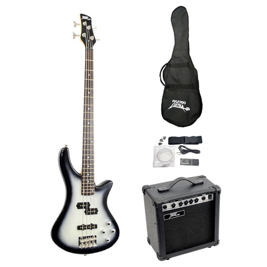Pyle - PGEKT50 , Musical Instruments , Guitars , Professional Full Size Electric Bass Guitar Package w/ Amplifier