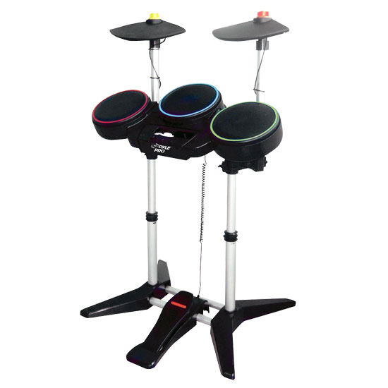 Pyle - PGMDK100 , Musical Instruments , Drum Kits , UNIVERSAL WIRELESS DRUM KIT for PS2/PS3/WII GUITAR HERO & BAND HERO GAMES