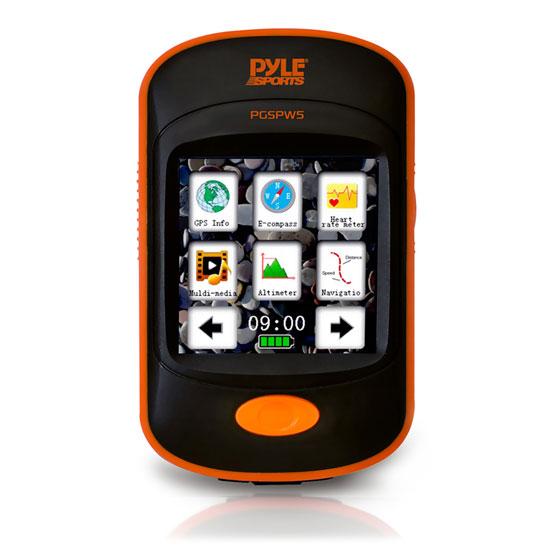 Pyle - PGSPW5 , Sports and Outdoors , Fitness - Training Sensors , Gadgets and Handheld , Fitness - Training Sensors , GPS Navigation Sporting Unit with Built-in MP3 Player, Pedometer, Speedometer, Altimeter, Barometer, Compass, Weather Forecasting, LCD TouchScreen Display  Flash Memory