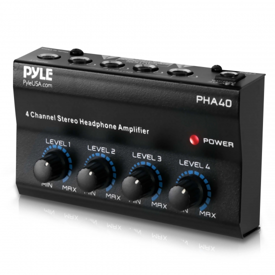 Pyle - PHA40 , DJ Equipment , Power Amplifiers , 4 Channel Stereo Headphone Amplifier