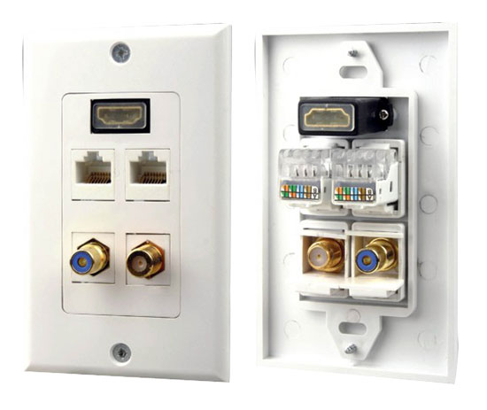 Pyle - PHDM2RJRF1 , Home and Office , Wall Plates - In-Wall Control , HDMI /Mono RCA Audio /Coaxial /Dual Ethernet Combo Wall Plate
