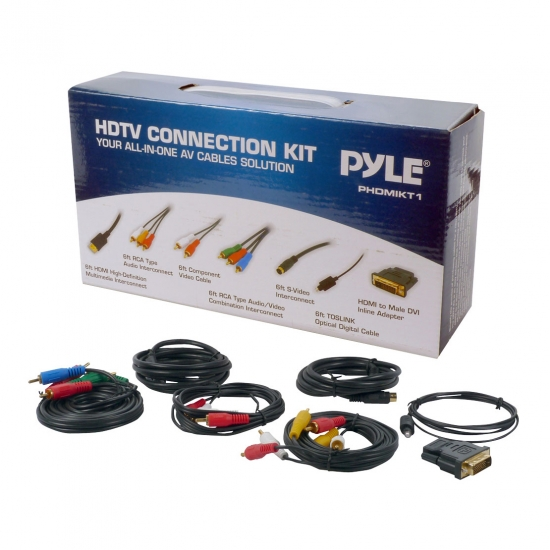 Pyle - PHDMIKT1 , Home Audio / Video , LCD / Plasma , HDMI Switches , HDTV Audio/Video Cable Connection Kit Compatible w/ Plasma, LCD/LED/DLP/Multimedia Disc and Audio Players