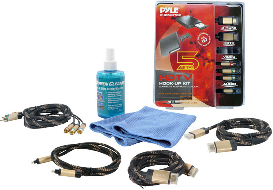 Pyle - PHDMIKT2 , Home and Office , Cables - Wiring - Adapters , HDTV CLEANING KIT w/ 2 HDMI HIGH DEFINITION CABLES/COMPONENT VIDEO HIGH DEFINITION CABLE/OPTICAL  AUDIO HIGH DEFINITION CABLE