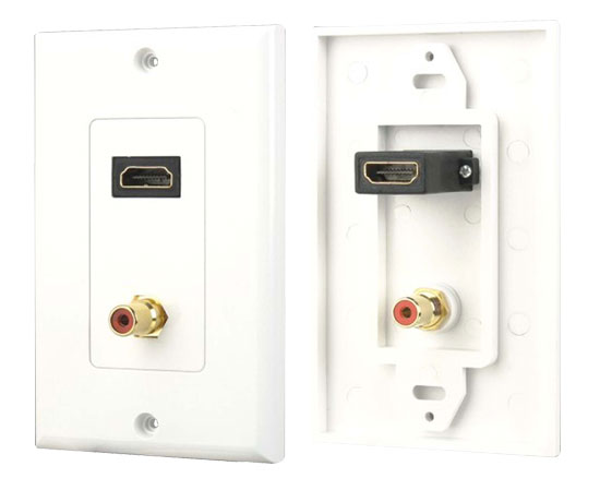 Pyle - PHDMRCF1 , Home and Office , Wall Plates and In-Wall Control , HDMI/Mono RCA Audio Combo Wall Plate