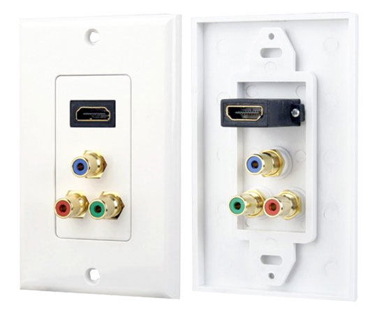 Pyle - PHDMRCF3 , Home and Office , Wall Plates and In-Wall Control , HDMI/ 3 (RGB/RCA) Component Combo Wall Plate