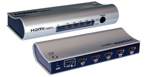 Pyle - PHDMSWR5 , Home and Office , Wall Plates and In-Wall Control , High Definition HDMI 5 Source Input and 1 Source Output Wirelessly Operated Switcher (W Remote Control)