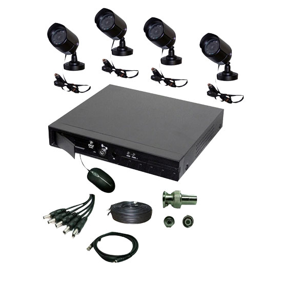 Pyle - PHDVR40 , Home and Office , TVs - Monitors , 4 Channel DVR & 4 Color Camera Surveilance Kit