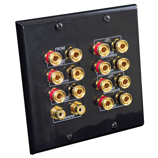 Pyle - PHI71B , Home and Office , Wall Plates, In-Wall Control , 7.1 Home Theater Fourteen Post Binding/Banana Plug with Dual RCA Subwoofer Posts Wall Plate Black (14 Posts/Polarity for 7 Speakers)
